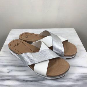 UGG Australia Kari Metallic Silver Slip On Sandals